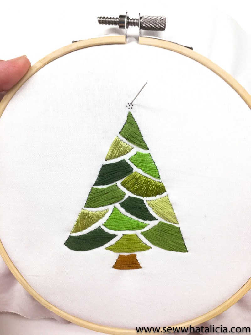 Embroidered christmas tree pattern and tutorial sew what alicia now with our tree finished its time to work on our lazy daisy stitches lazy daisy stitches are used in a variety of ways to create some pretty cool bankloansurffo Choice Image