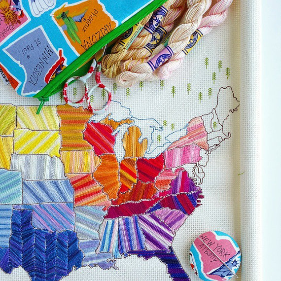 10+ Marvelous Map Projects to Stitch: If you are obsessed with maps like I am then you are going to want to grab some of these map projects to stitch. Click through for the full list of map projects! | www.sewwhatalicia.com