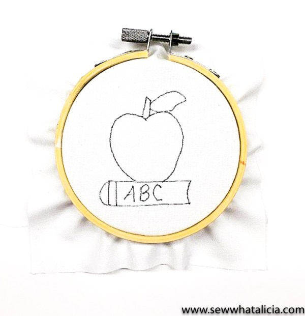 How to Embroider a French Knot: This fun back to school ABC apple is the perfect project to learn how to embroider french knots. Click through for the tutorial and free pattern. | www.sewwhatalicia.com