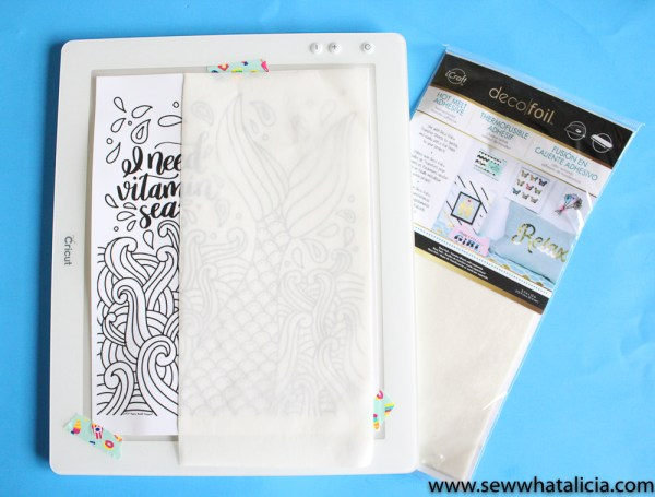 How to Use Coloring Pages on Fabric (with foil!): Do you love coloring pages but want to get more functionality from them? Check out this tutorial for adding the images from coloring pages to fabric! Click through for the full tutorial and a video walkthrough. | www.sewwhatalicia.com