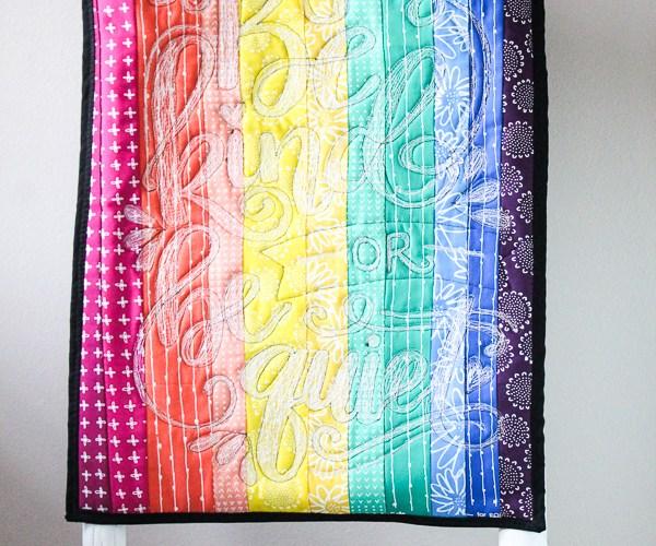 Rainbow Doodle Stitch Mini Quilt