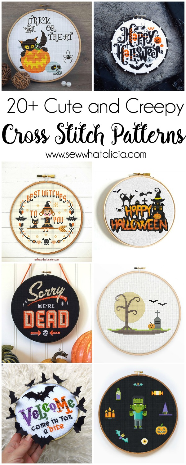 20+ Cute and Creepy Halloween Patterns to Cross Stitch : If you are a fanatic about Halloween and you love to cross stitch then you are going to go nuts over these Halloween Cross Stitch Patterns. Click through for the full list of patterns. | www.sewwhatalicia.com
