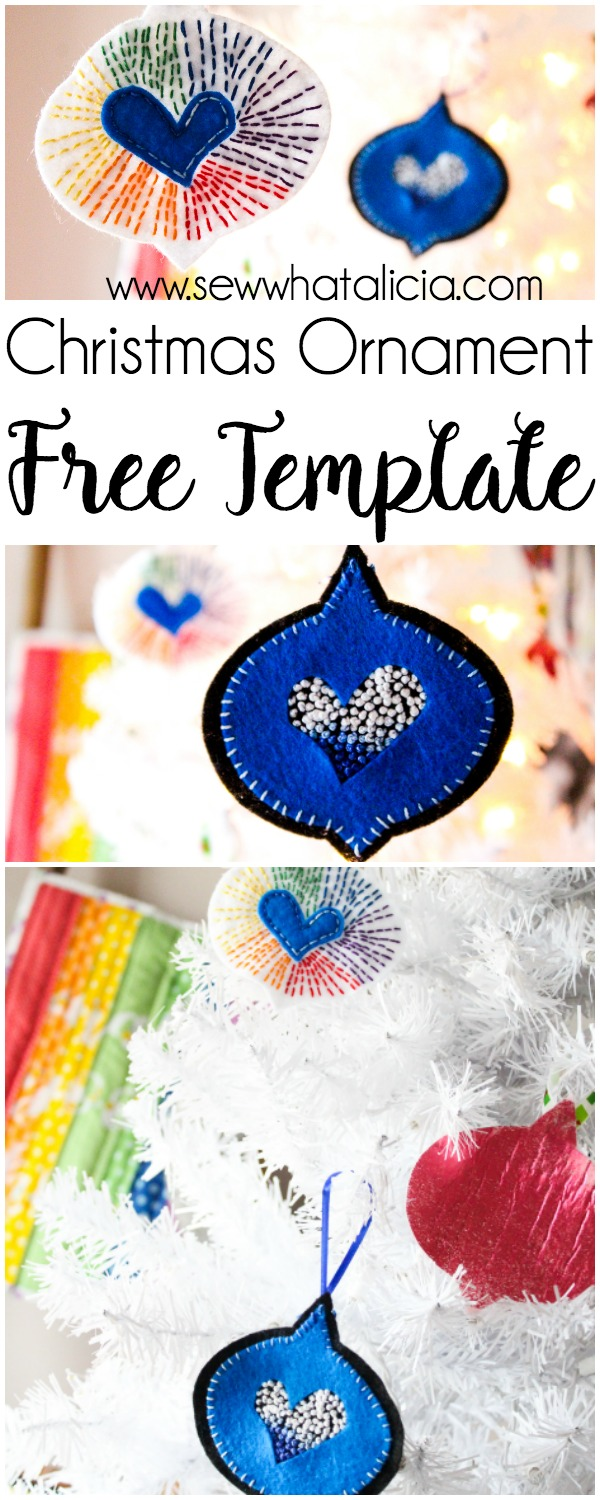 Free Christmas Ornament Template: Here are 5 free christmas ornament templates that are great for making your own felt ornaments. You can sew these or make them without sewing. Click through for a full tutorial. | www.sewwhatalicia.com