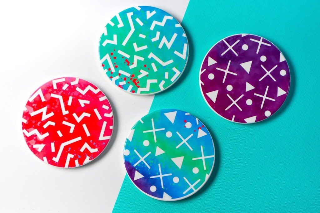 pictured colorful coasters made with infusible ink