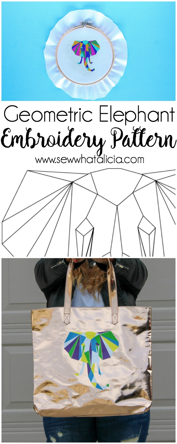 Geometric Elephant SVG and Embroidery Pattern - Sew What, Alicia?