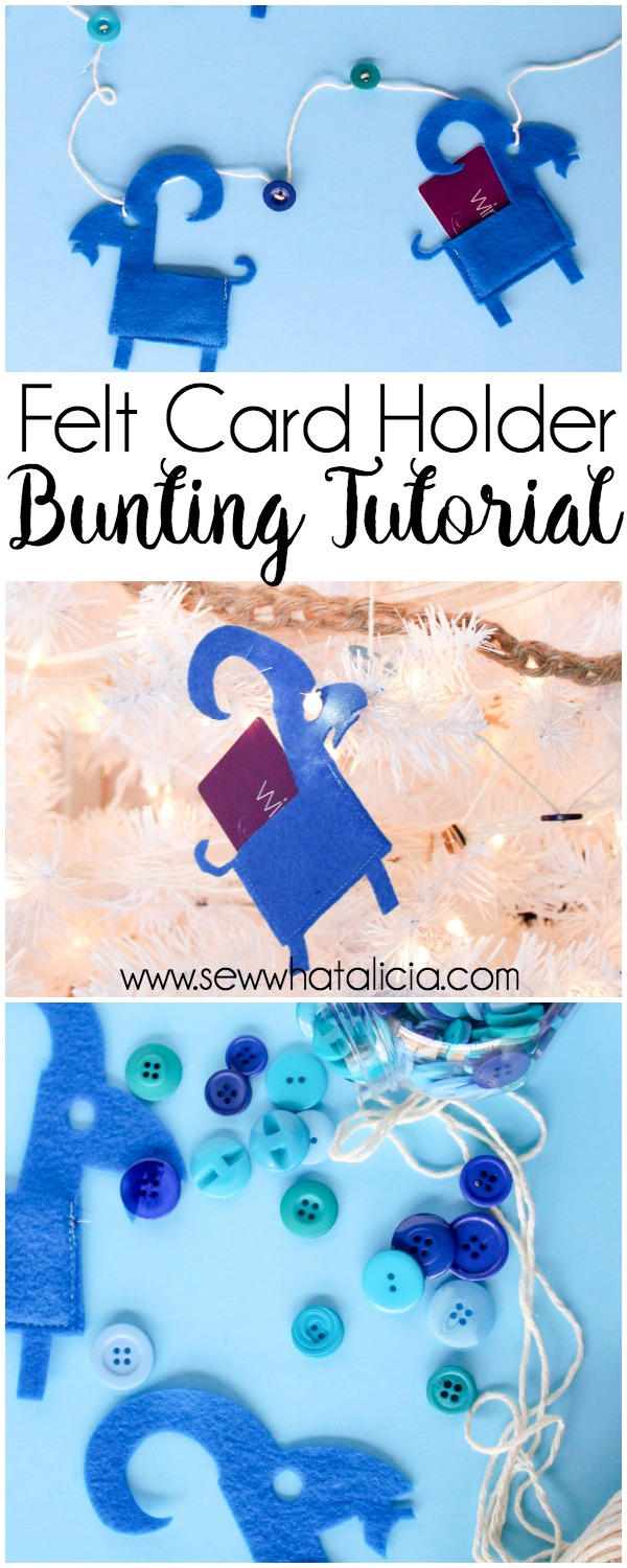 Felt Gift Card Holder Bunting Tutorial: Grab the free cut file and create this adorable bunting to hang on your tree or your mantle. This is grate place to store gift cards for the holidays! Click through for the cut files and sewing tutorial.| www.sewwhatalicia.com