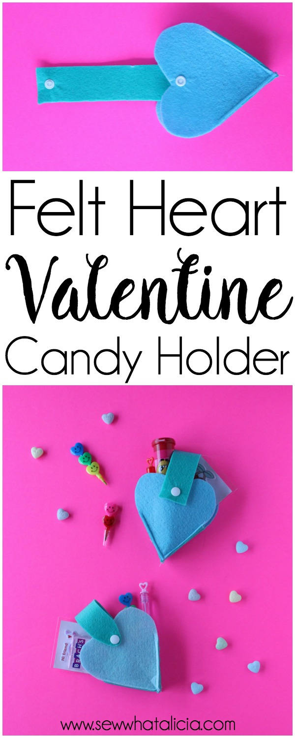 Felt Heart Valentine Sewing Project: This is a quick and easy sewing project that is perfect for Valentine's Day. Click through for a full supply list and tutorial.   www.sewwhatalicia.com