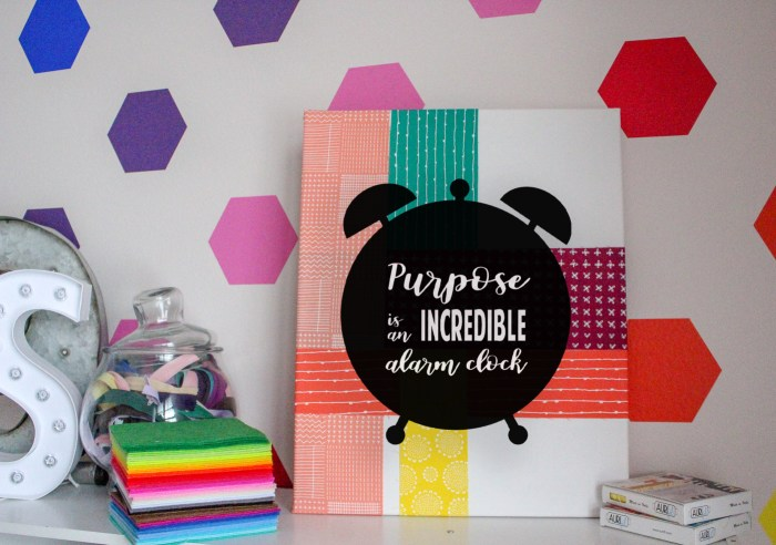 DIY Inspirational Wall Art: This is a quick fun project that will help you add some color and inspiration to your walls. It is perfect for motivating you in your workspace. Click through for a full tutorial and supply list. | www.sewwhatalicia.com