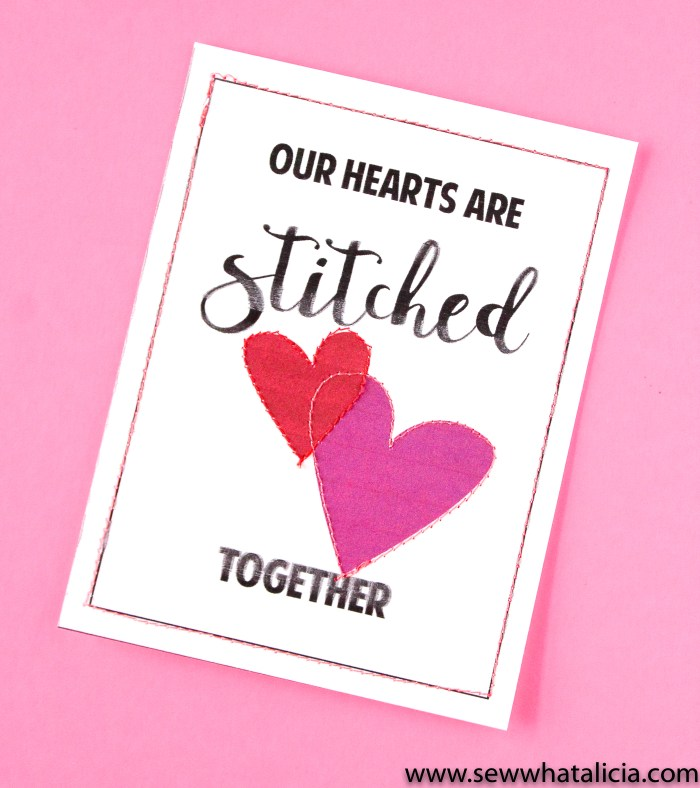 Print then Stitch Valentine's Day Cards: These cards are perfect for practicing stitching for brand new sewists. Learn to sew a straight line while creating some fun sewing themed cards. Click through for the free download and tutorial.   www.sewwhatalicia.com