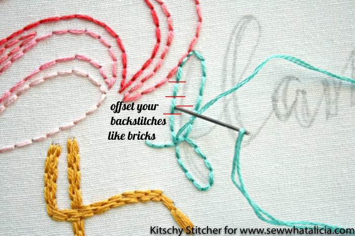 Embroidery How to with the Kitschy Stitcher: This is an amazing embroidery tutorial from the Kitschy Stitcher. Learn to make a cute flamingo pattern. Click through for the free pattern.   www.sewwhatalicia.com