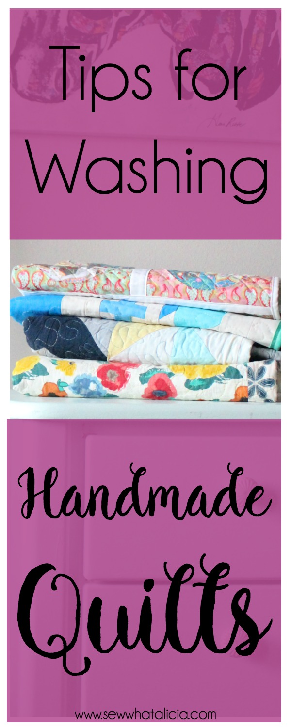 Tips for Washing a Quilt: When you sew a beautiful handmade quilt you need to be super careful about washing it! Here are all my tips for washing a handmade quilt. | www.sewwhatalicia.com