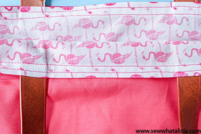 How to make a tote bag: Close up of finished top edge of bag. | www.sewwhatalicia.com
