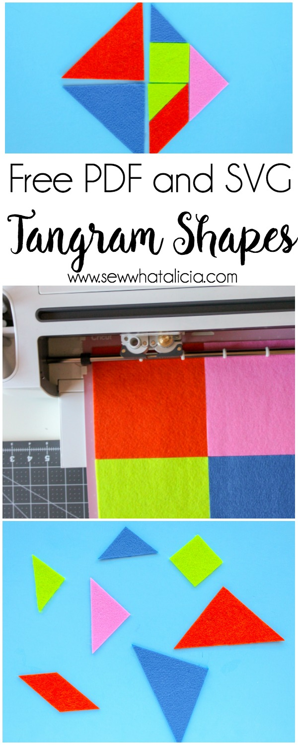 Cuttable and Printable Tangrams PDF: This pattern can be used with your cutting machine or you can cut them by hand. These are great for keeping the kids busy and stimulating their tiny brains! Click through for the free patterns.   www.sewwhatalicia.com