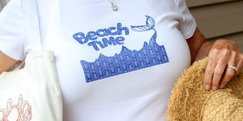 Cricut Patterned Iron On Tips and Tricks: Finished Beach Theme shirt with patterned iron on. | www.sewwhatalicia.com