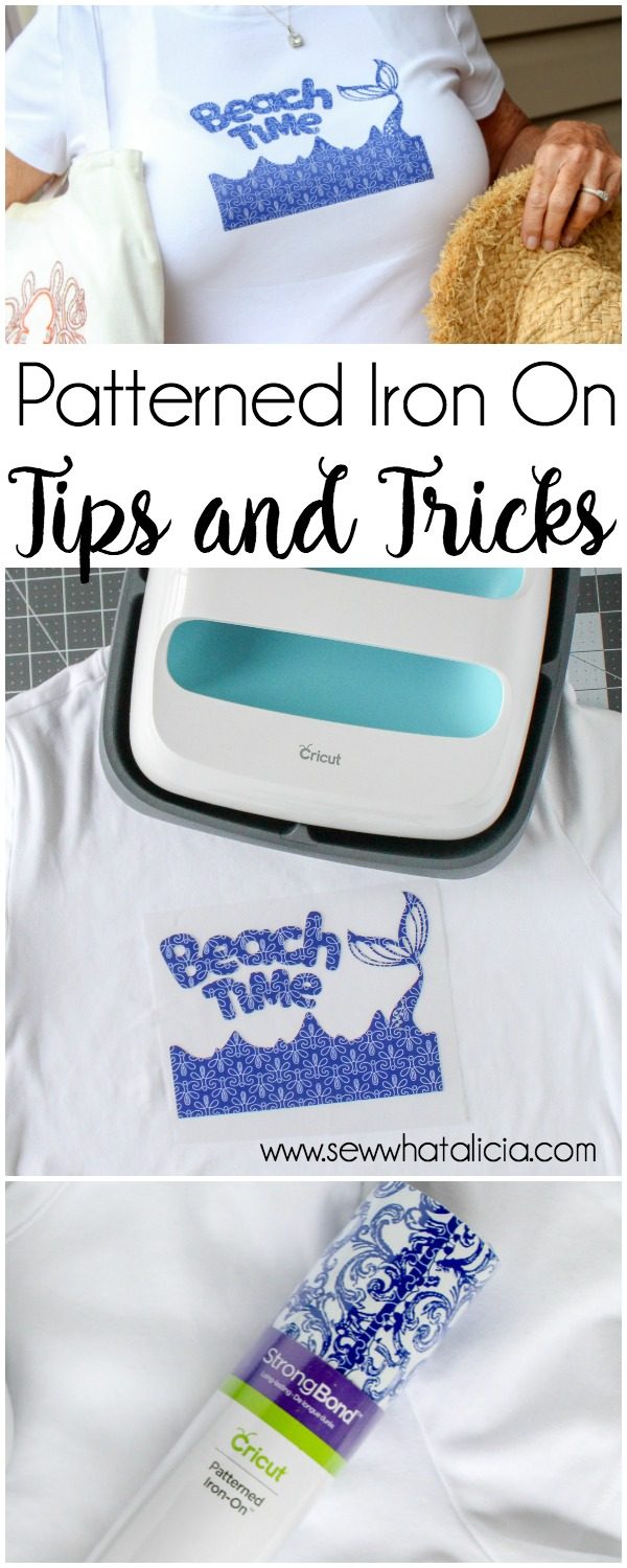 Cricut Patterned Iron On Tips and Tricks: The new patterned Iron On from Cricut is great for customizing shirts with vinyl. It comes in 9 different sample packs and they are all gorgeous. Click through for tips and tricks for using the Iron On plus the design space link for the pictured shirt. | www.sewwhatalicia.com