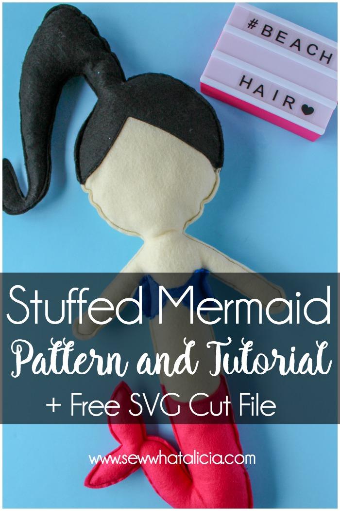 Felt Mermaid Pattern and Tutorial: This stuffed felt mermaid is seriously adorable. Grab the free svgs cut file to use with your Cricut or Silhouette cutting machine. This is an easy sewing pattern and tutorial that is great for beginners. Click through for the free pattern and tutorial. | www.sewwhatalicia.com