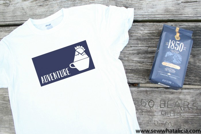 Free Adventure Coffee Cup SVG: Pictured flat lay of t-shirt featuring cut file and bag of 1850 coffee.   www.sewwhatalicia.com