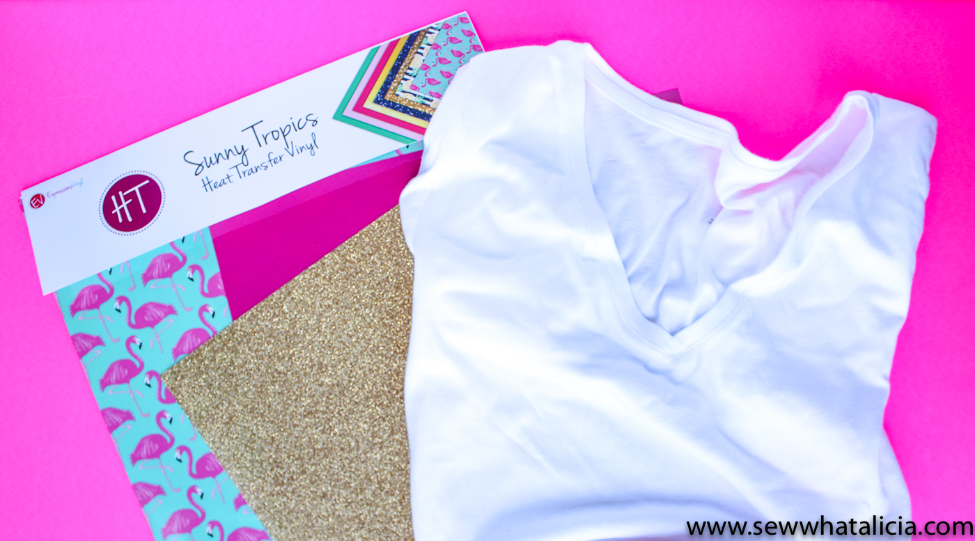 The BEST Heat Transfer Vinyl: Pictured: Plain white tee shirt and summer vinyl bundle. | www.sewwhatalicia.com