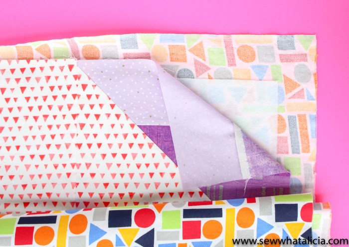 Scrappy Easy Rainbow Quilt Pattern and Tutorial: Pictured, corner of quilt with backing, batting, and front of quilt. | www.sewwhatalicia.com