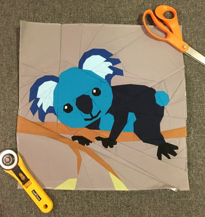 pictured finished koala fpp block