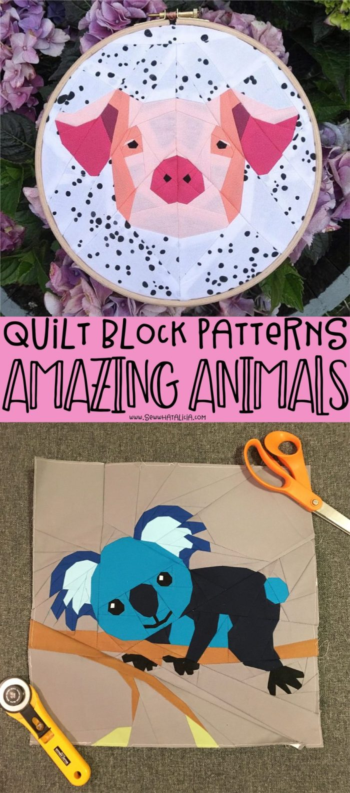 pictured animal paper piecing patterns with verbiage reading quilt block patterns amazing animals