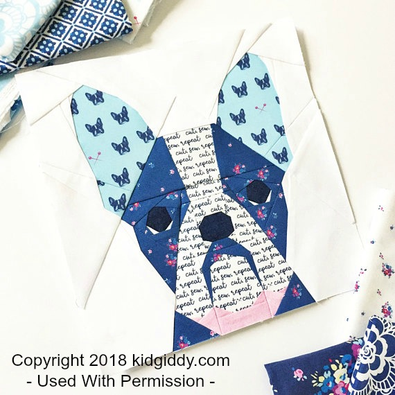 Paper Piecing Patterns - Awesome Animals: French Bull Dog paper piecing pattern. Copyright 2018 kidgiddy.com - Used With Permission. Click through for a huge list of animal paper piecing quilt block patterns. | www.sewwhatalicia.com