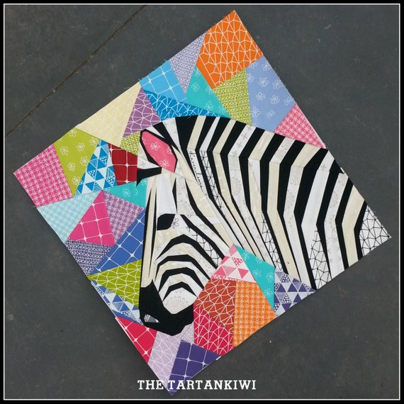 Paper Piecing Patterns - Awesome Animals: Zebra paper piecing pattern. Photo used with permission. Click through for a huge list of animal paper piecing quilt block patterns. | www.sewwhatalicia.com