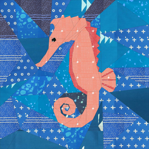 Paper Piecing Patterns - Awesome Animals: Seahorse paper piecing pattern. Photo used with permission. Click through for a huge list of animal paper piecing quilt block patterns. | www.sewwhatalicia.com