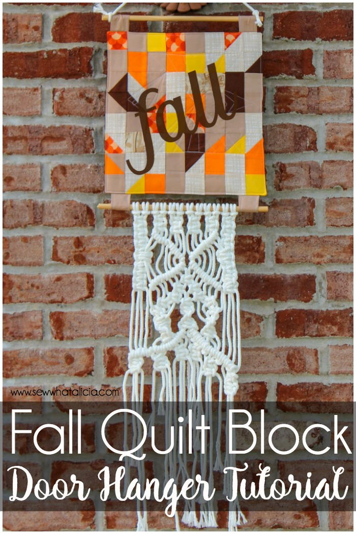Fall Quilt Block Door Hanging Tutorial: These fall quilt blocks are fun to use and to make. Turn it into a door hanger and add some macrame to finish the look. Click through for the full tutorial. | www.sewwhatalicia.com