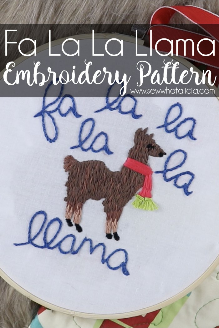 Christmas Embroidery Designs - Fa La La Llama Pattern: This adorable llama pattern is perfect for the holidays. Plus get a full video walkthrough. Click through for all the supplies including the pattern and the video. | www.sewwhatalicia.com