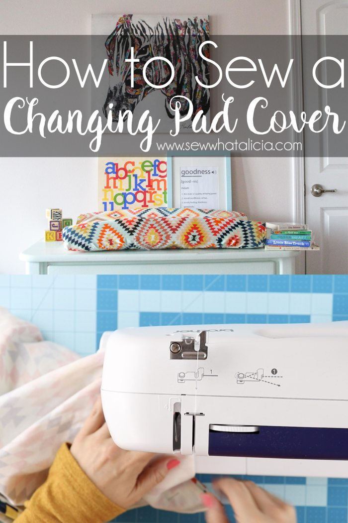 How to sew a changing pad cover: If you want to sew for your baby's nursery then this is a great place to start. This changing pad cover has a video walkthrough which is perfect for beginner sewing. Click through for the video and written tutorial. | www.sewwhatalicia.com
