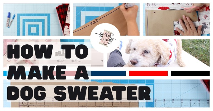 Collage of Images Creating and Sewing Dog Sweater Pattern