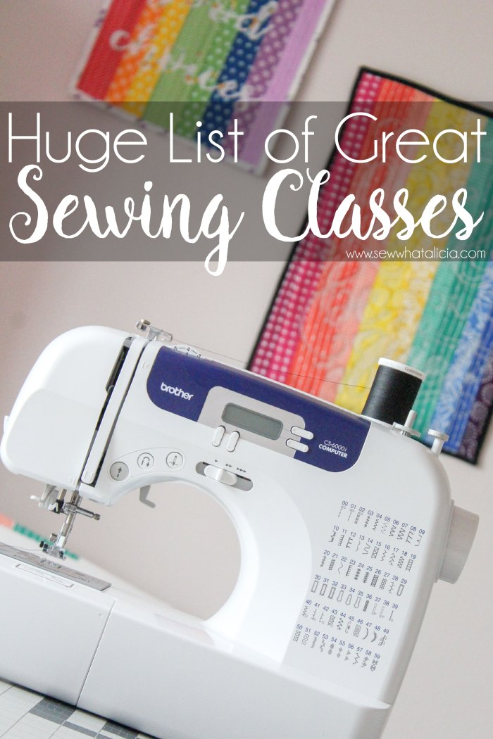 Image of sewing machine with rainbow mini quilts in the background.