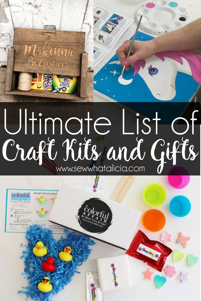 Ultimate list of craft gifts: If you are looking for a great craft kit for the kids (or yourself) this is a great list of the most awesome craft kits around! Whether you make your own or get one from a small Etsy shop you can find some really cool craft kits! Click through for a full list of awesome craft gifts and ideas. | www.sewwhatalicia.com