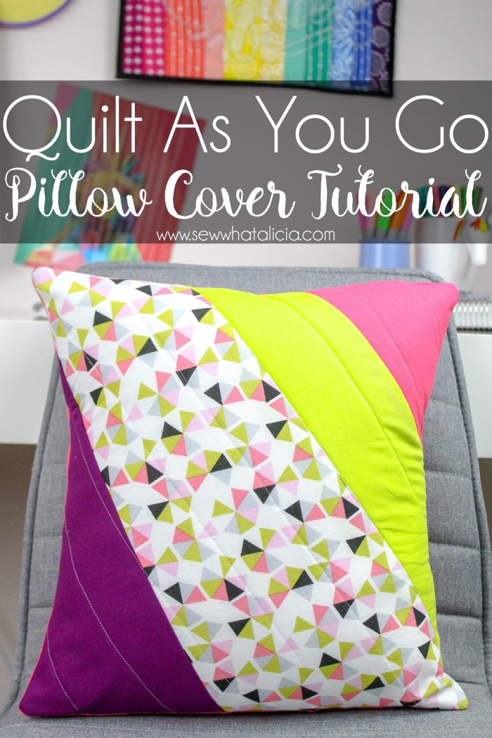 Finished pillow with text overlay reading quilt as you go pillow cover tutorial.