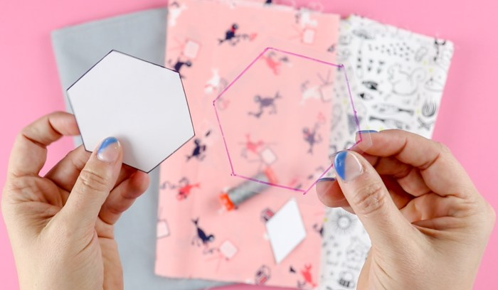 """English Paper Piecing: Paper template, and clear plastic template with 1/4"""" seam allowance. 