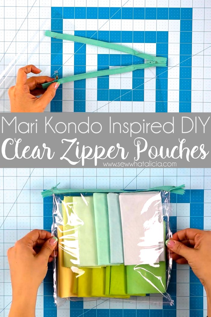 Mari Kondo Inspired DIY Clear Zipper Pouches: Take your Mari Kondo organizing to the next level with these super easy to sew clear pouches. These pouches are perfect for organizing because they allow you to see everything that is inside, whip up a bunch in just minutes, Click through for a full written and video tutorial. | www.sewwhatalicia.com