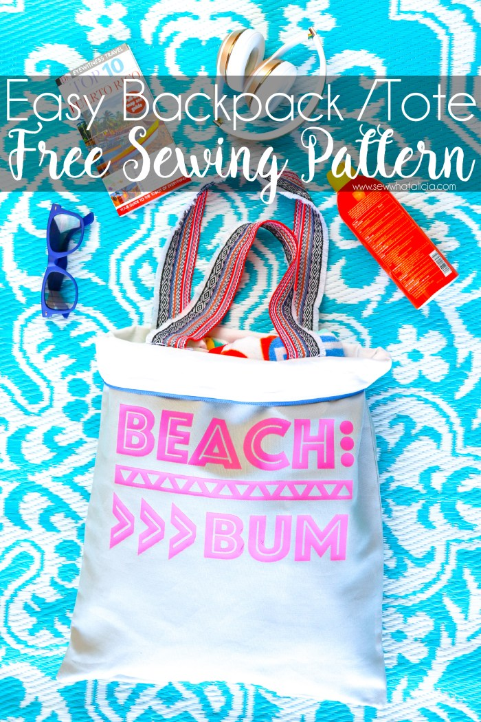 Beach Tote Bag Pattern and Free Beach Cut File: This beach tote doubles as a backpack. Plus it has a zipper and is pretty simple to put together! Click through for a full tutorial plus this free beach bum cut file. | www.sewwhatalicia.com
