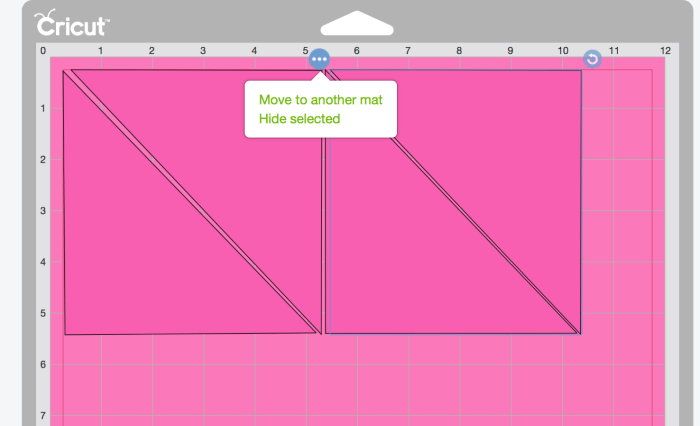pictured: cricut design space screen with three dots selected to show move to new mat prompt.