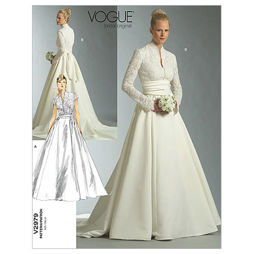 pictured cover of vogue wedding dress pattern