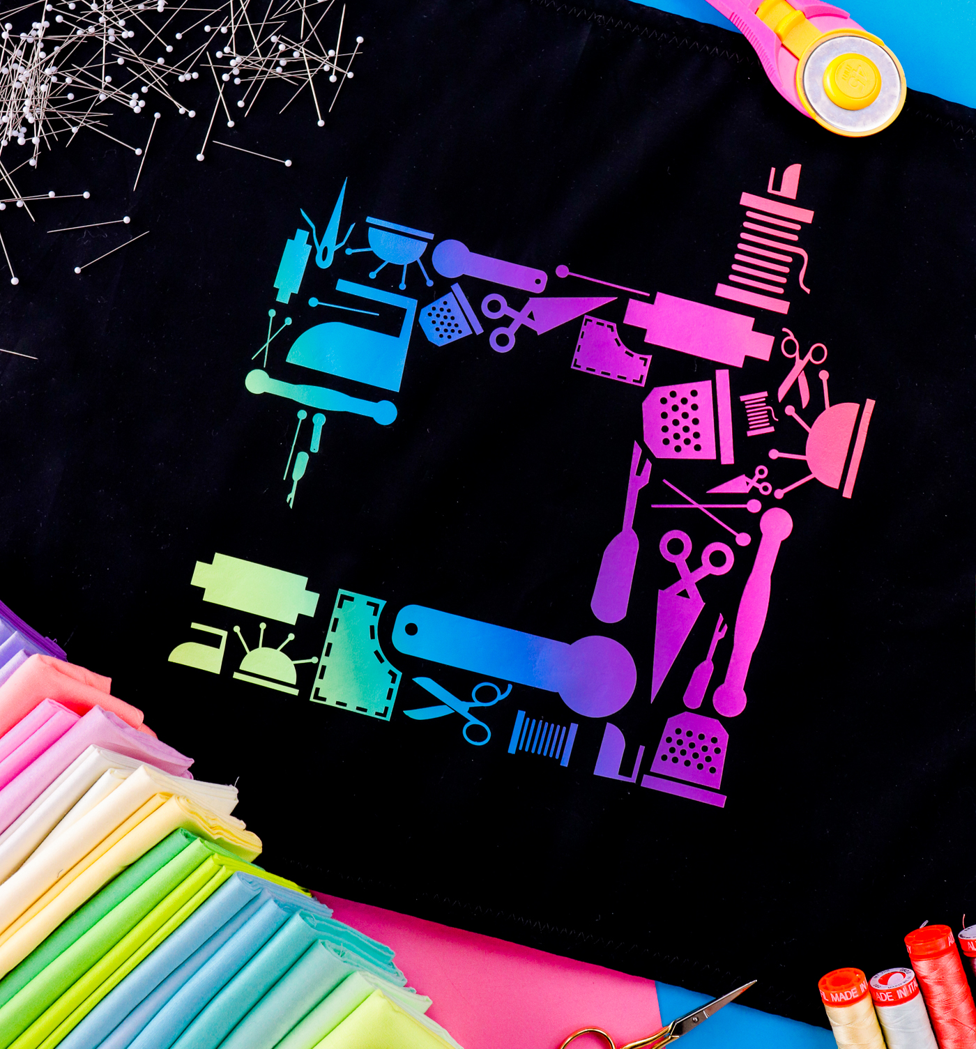 Pictured: closeup of the sewing machine cut file cut using rainbow HTV.