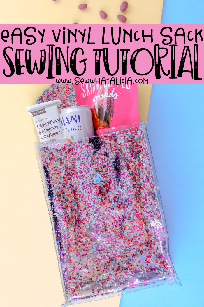 How to sew vinyl - easy lunch sack tutorial: All the things you need to know about sewing with vinyl. Click through for all the tips and tricks. Plus a free vinyl lunch sack tutorial. | www.sewwhatalicia.com