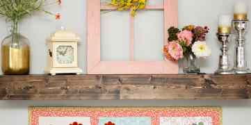 pictured chicken table runner styled on mantle
