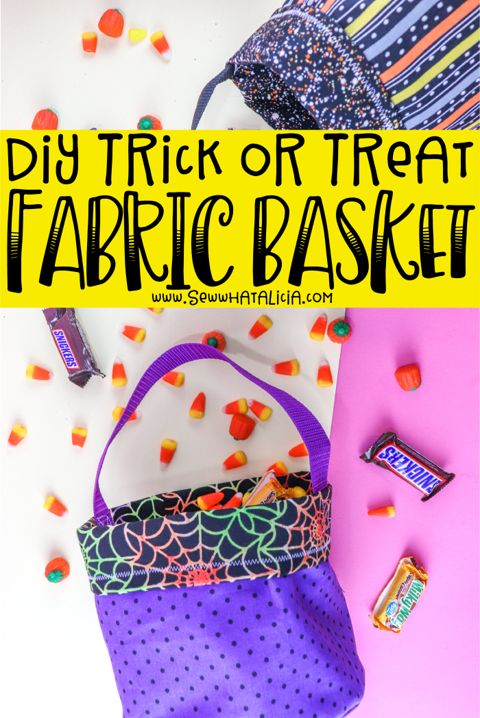 DIY Trick or Treat Bag: This easy sewing tutorial for a fabric basket is perfect for Halloween. Click through for a video tutorial on creating these Halloween trick or treat bags. #ad #handmadewithjoann | www.sewwhatalicia.com