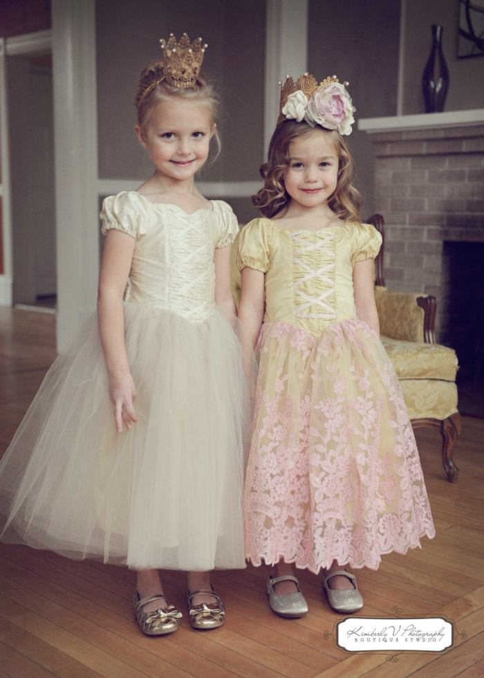 pictured two girls in fairytale ballerina dresses