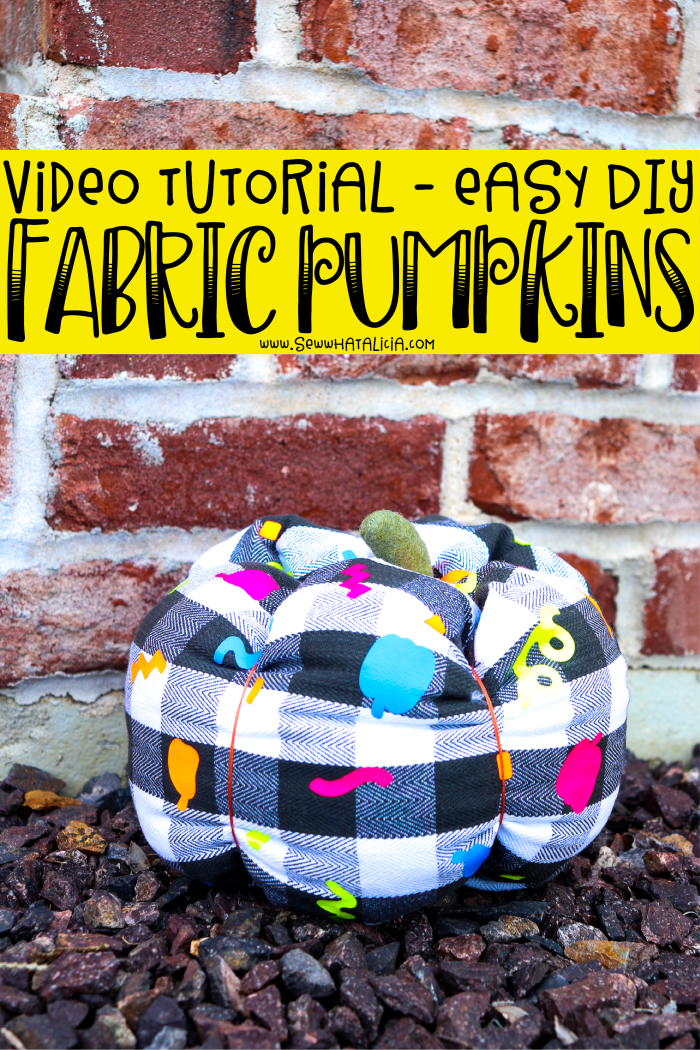 How to make fabric pumpkins: Create your own custom fabric with vinyl and then sew these adorable fabric pumpkins. These come together quickly and make a great addition to your fall decor. Click through for a video tutorial and written walkthrough.   www.sewwhatalicia.com