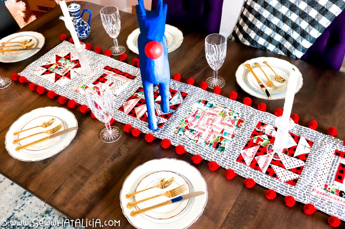 pictured table runner on table with china settings