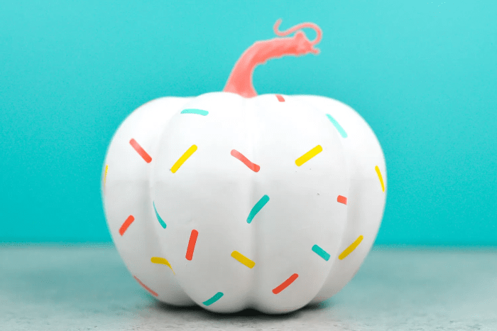 pictured sprinkle pumpkin with blue background