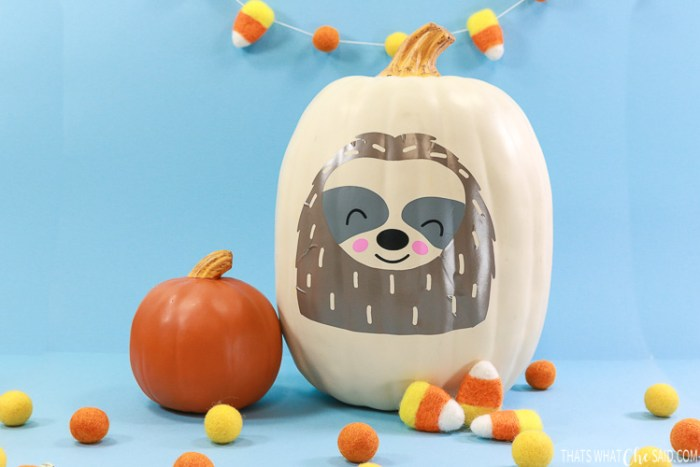 craft pumpkin with cute vinyl smiling sloth