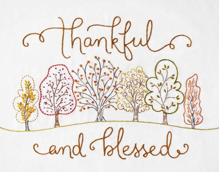 embroidered fall trees with thankful and blessed embroidered